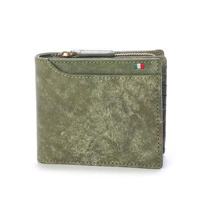 ミラグロ Milagro イタリアンヌバック 23ポケット二つ折り財布 (グリーン)