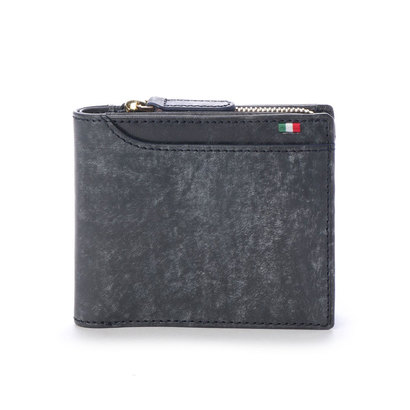 ミラグロ Milagro イタリアンヌバック 23ポケット二つ折り財布 (ネイビー)