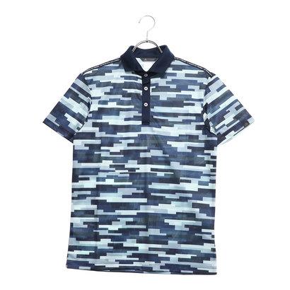 アディダス adidas メンズ ゴルフ 半袖シャツ ADICROSS カモプリント S/S ワイドカラーシャツ DW6289 (ネイビー)