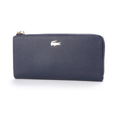 ラコステ LACOSTE CHANTACO ピケレザー カード8枚収納 財布 (ネイビー)