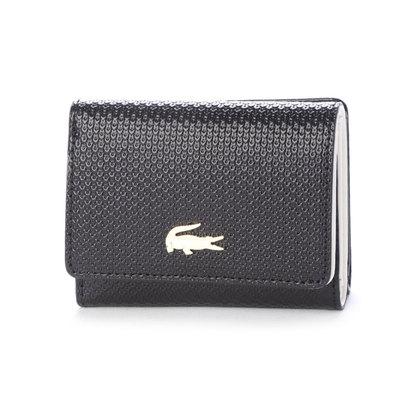 ラコステ LACOSTE CHANTACO エンボスイタリアンレザー3つ折りカードケース (ブラック)