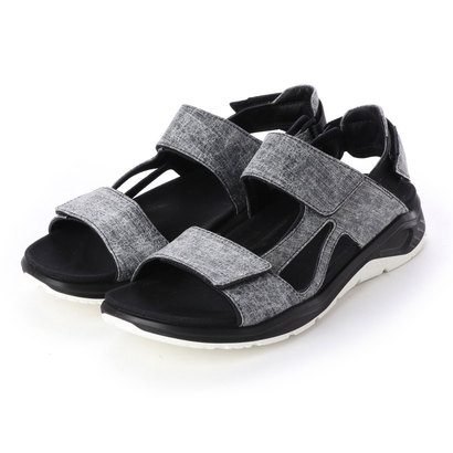 エコー ECCO Mens X-TRINSIC Flat Sandal (BLACK/CONCRETE)