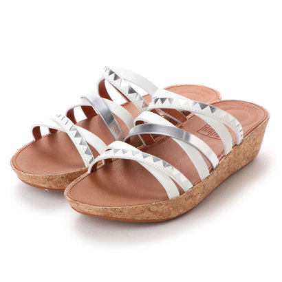 【アウトレット】フィットフロップ FitFlop LINNY SLIDE SANDALS - ZIGZAG MIRROR (Urban White/Silver Mirror)