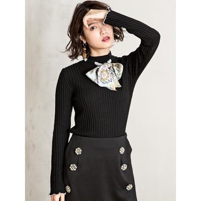 Million Carats スカーフリボンニット[DRESS/ドレス] ブラック