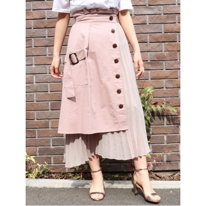 ECLIN トレンチ風ラッププリーツスカート ピンク