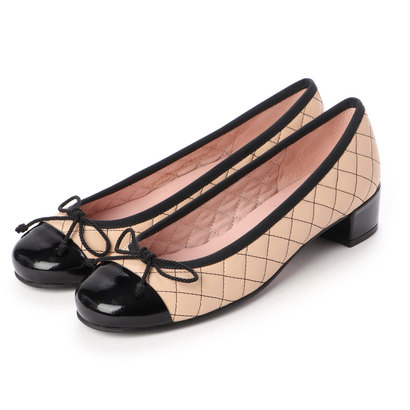 プリティ バレリーナ PrettyBallerinas LINDSAY patent-leatherquilt(リンゼイ パテント x レザーキルト) ヒール付きバレエシュー (NEGRO-COCO)