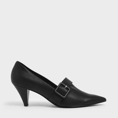 【2019 FALL】バックル ストラップヒールパンプス / Buckle Strap Cone Heel Pumps (Black)