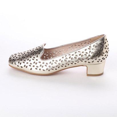 アウトレット アンタイトル シューズ UNTITLED shoes レザーカットスクエアパンプスホワイトゴールドUGSMzqVp
