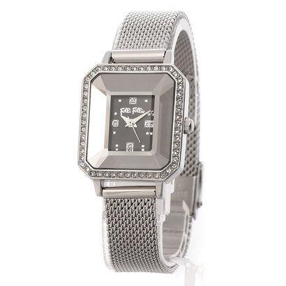 フォリフォリ Folli Follie STYLE PRISMA レクタングラーメッシュベルトウォッチ/腕時計 (ブラック)