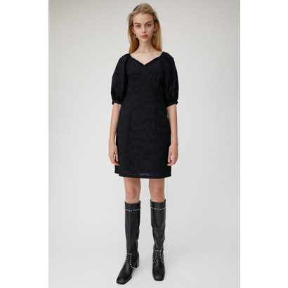 マウジー moussy COTTON EMBROIDERY DRESS (ブラック)