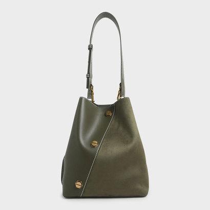 スタッズテクスチャー ホーボーバッグ / Studded Textured Hobo Bag (Olive)