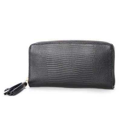 ペルケ perche リザード型押しラウンドファスナー長財布 (ブラック)