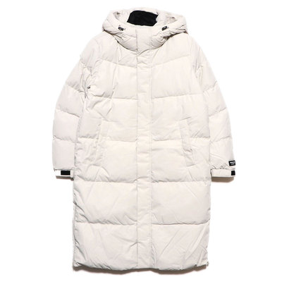 ゲス GUESS HOODED LONG DOWN JACKET (LIGHT GREY)
