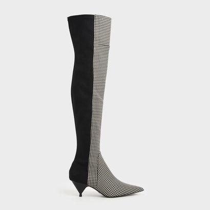 【アウトレット】ハウンドトゥースプリント サイハイブーツ / Houndstooth Print Thigh High Boots (Multi)