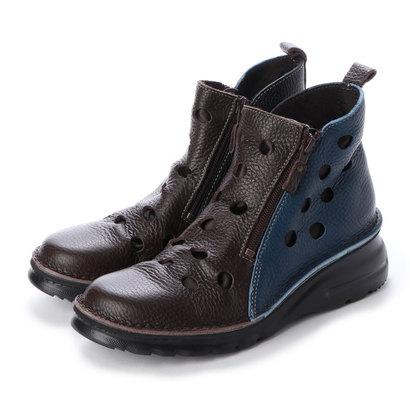ユリコ マツモト yuriko matsumoto ブーツ 春ブーツ ショートブーツ パンチ 生地当て 本革 日本製 (MARUTI)