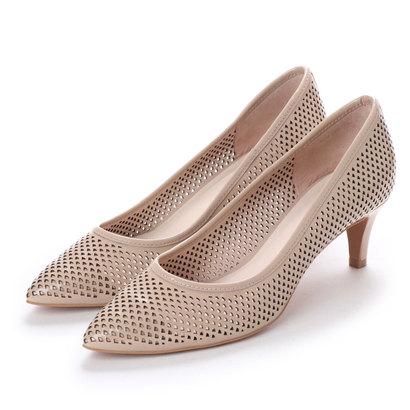 【アウトレット】アンタイトル シューズ UNTITLED shoes レーザーカットパンプス (ピンクベージュエナメル)