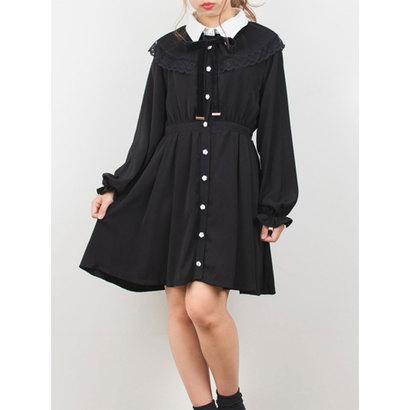 ロジータ ROJITA プリーツケープシャツカラーワンピース (ブラック)