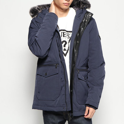 【アウトレット】ゲス GUESS FAUX FUR HOODED PUFFA JACKET (BLUE NAVY/BLUE)