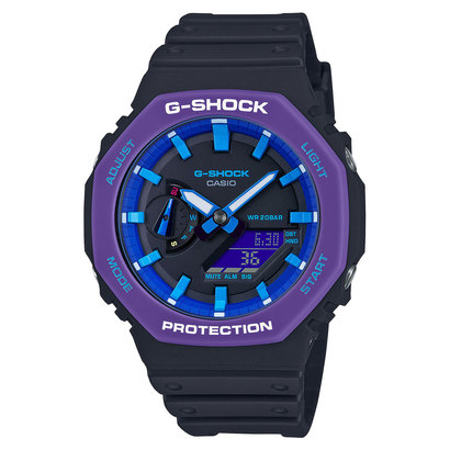 【G-SHOCK】Throwback 1990s / カーボンコアガード / GA-2100THS-1AJR / Gショック (ブラック×パープル)