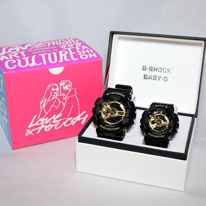【G-SHOCK&BABY】Pair Model / スペシャルデザインBOX / Black×Gold Series / GA-110GB-1AJF × BA-110-1AJF (ブラック×ゴール