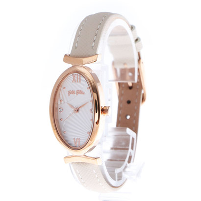 フォリフォリ Folli Follie OVAL FAN オーバルレザーウォッチ/腕時計 (ホワイト)