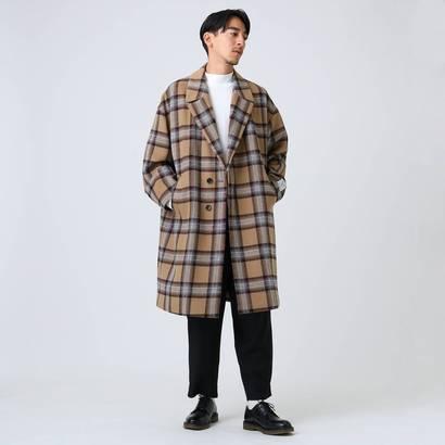 ティーケー タケオ キクチ tk.TAKEO KIKUCHI ビッグチェックチェスターコート (キャメル)