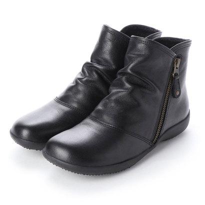 イングプラス ing PLUS サイドファスナーシュリンクレザーショートブーツ (ブラック)