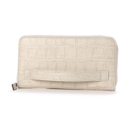 イタリコ ITALICO 日本製 クロコ型押し 牛革 国産 レザー ウォレット クラッチ 手持ち財布 (アイボリー)