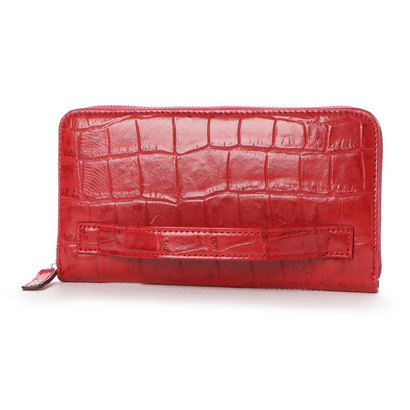 イタリコ ITALICO 日本製 クロコ型押し 牛革 国産 レザー ウォレット クラッチ 手持ち財布 (レッド)
