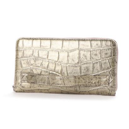 イタリコ ITALICO 日本製 クロコ型押し 牛革 国産 レザー ウォレット クラッチ 手持ち財布 (ガンメタ)