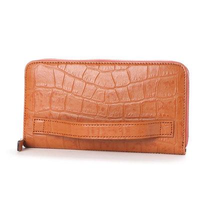 イタリコ ITALICO 日本製 クロコ型押し 牛革 国産 レザー ウォレット クラッチ 手持ち財布 (オレンジ)