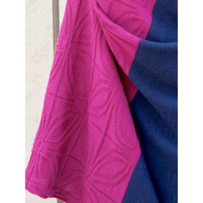 カヤattakee七宝柄 華色羽織り ビッグシルエットニットカーディガン ネイビー0OkwPn