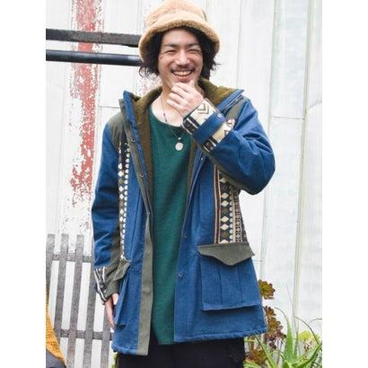 【チャイハネ】デニム×コーデュロイパッチワークMEN'Sジャケット ブルー