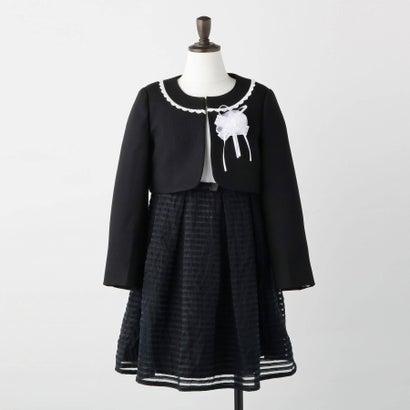 シューグー キッズ SHOO-LA-RUE(Kids) 【3点SET/110-130cm】セレモニー シアーボーダーワンピース (ブラック)