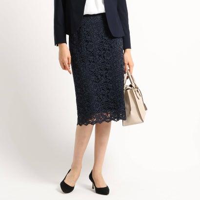 インディヴィ INDIVI 【ママスーツ/入学式 スーツ/卒業式 スーツ】ジャカードレースタイトスカート (ネイビー)