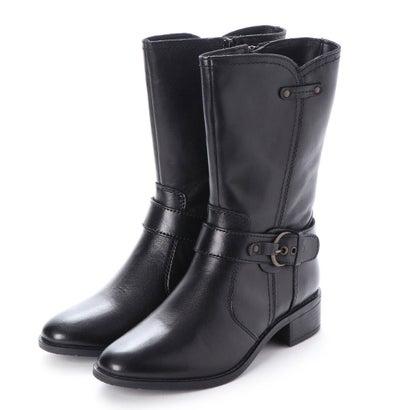 イタリコ ITALICO ローヒール 牛革 アンクルベルト ショートブーツ (ブラック)