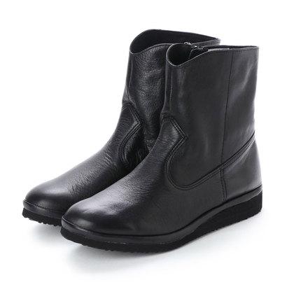 【アウトレット】ヒップス HIPS 軽量レザーショートブーツ (ブラック)