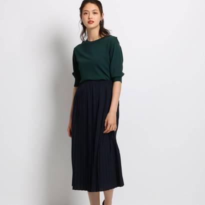 インディヴィ INDIVI 【ハンドウォッシュ】レーヨンニット×プリーツスカート (ダークグリーン)