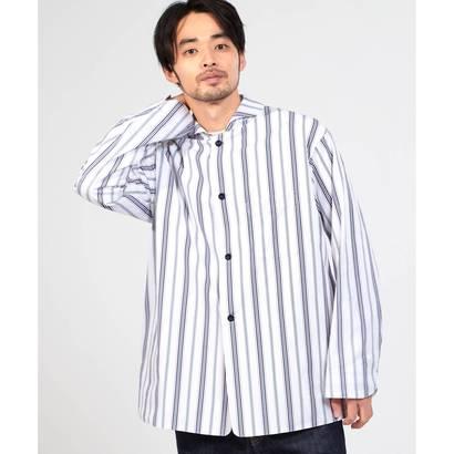 ドレステリア DRESSTERIOR 【洗える】ストライプラウンドカラーシャツ (ブルー)