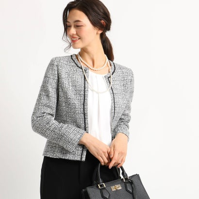 インディヴィ INDIVI 【ママスーツ/入学式 スーツ/卒業式 スーツ】ネオブライトツイードジャケット (ブラック)