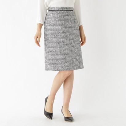 インディヴィ INDIVI ツイードAラインスカート (ブラック)