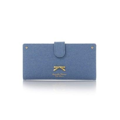 サマンサタバサプチチョイス シンプルリボンプレートデニムシリーズ薄型長財布 ブリーチデニム