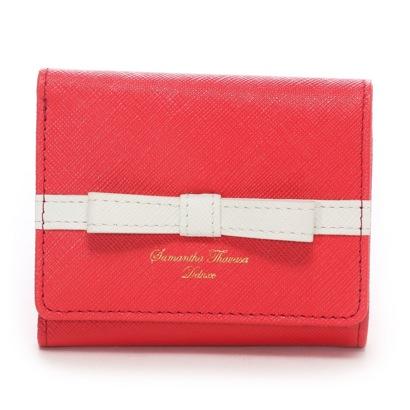 サマンサタバサデラックス ライン入りシンプルリボン小物(三つ折り財布) レッド