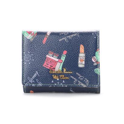 サマンサタバサプチチョイス Lara Collection ヘルシンキシリーズ コスメプリント 折財布 ネイビー