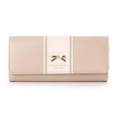 サマンサタバサプチチョイス リボンプレート バイカラーバージョン 長財布(グレージュ)