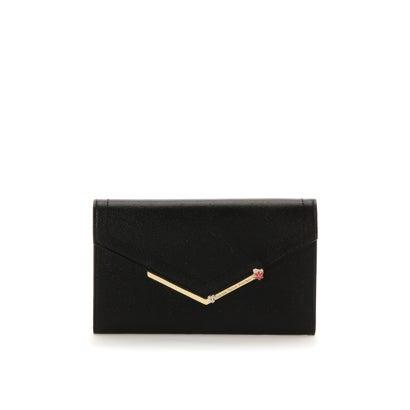 サマンサタバサプチチョイス シンプルフラワーバー金具シリーズ マルチ長財布 ブラック