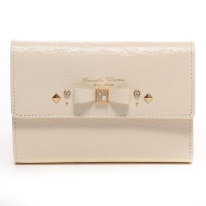 サマンサタバサプチチョイス ビジューリボンモチーフ 中財布(ホワイト)