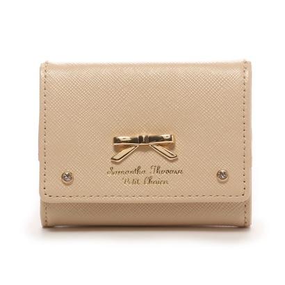 サマンサタバサプチチョイス シンプルリボンプレート(ミニ財布)(ベージュ)