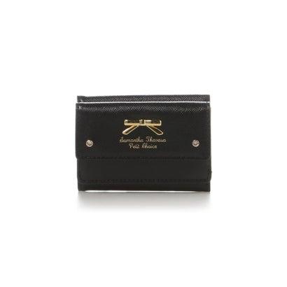 サマンサタバサプチチョイス シンプルリボンプレートミニ財布 ブラック