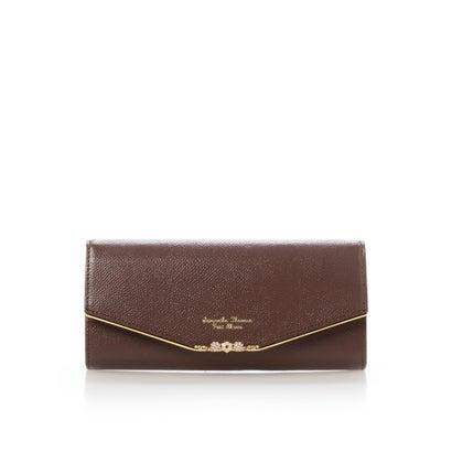 サマンサタバサプチチョイス フラワーバー金具シリーズ(かぶせ長財布) ブラウン